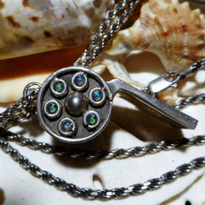 Jewelry - Taxco Sterling Silver Working Whistle w Opals 37g